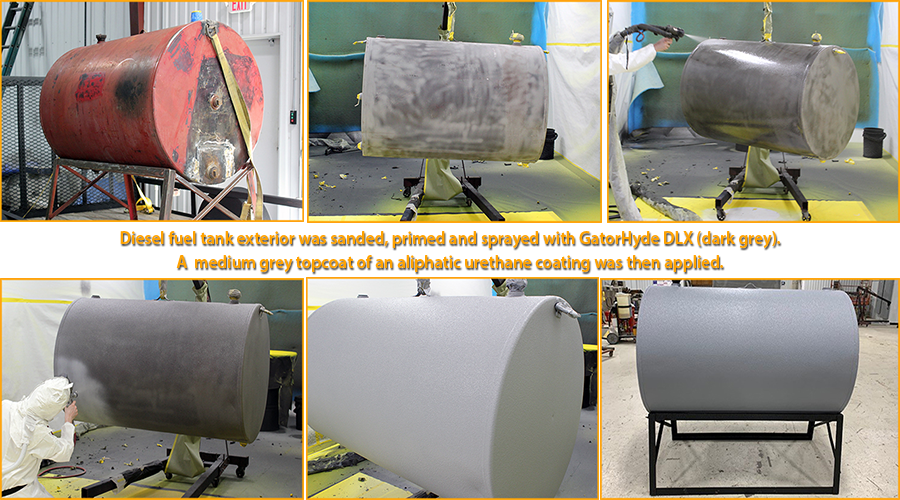 Diesel fuel storage tank sprayed with GatorHyde DLX and topcoated with an aliphatic urethane.