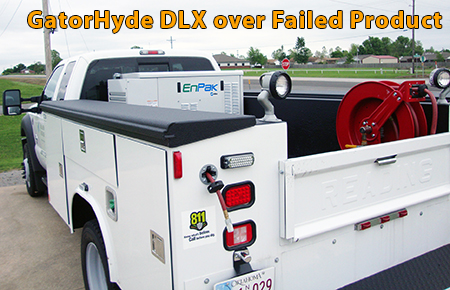 Utility truck spray with GatorHyde DLX polyurea spray